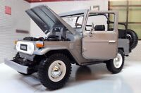 1:24 G Scale Toyota Land Cruiser FJ40 Open Silver Grey Motormax Diecast Model
