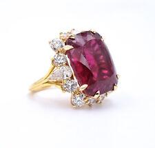 25.41Ct Rubellite & 4.75ct Diamond Ring, Set In 18k Yellow Gold, 14.8g, Size 6