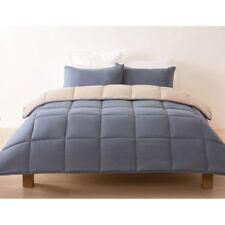 REVERSIBLE Comforter Set SINGLE DOUBLE Queen King Quilt Blue/Grey Bedspread WARM