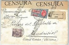 ITALIA REGNO: storia postale - Sass ESPRESSI 2 su BUSTA RACCOMANDATA - CENSURA