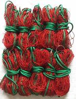 "10 X 6z BRIGHT RED 4FT SPUN NYLON FERRETING PURSE NETS ON 1"" WELDED STEEL RINGS"