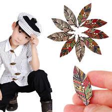 50pcs 2 agujeros hechos a mano hoja vintage botones de madera ropa decoración hq