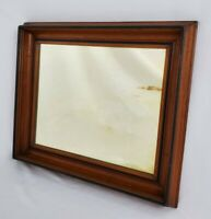 Antique Deep Well Walnut Wood Framed Wall Mirror Federal Colonial