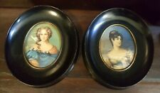 Pair Vintage Italian Hand Painted Signed Miniature Portrait Paintings Framed