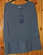 LADIES 3/4 SLEEVE M&S  RIBBED  TOP ROUND NECK GREY   SIZE 14