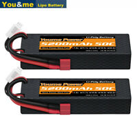 2pcs 7.4V 2S 5200mAh LiPo Battery 50C Deans Hardcase for RC Car Truck Boat Drone