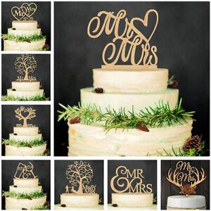 Hochzeitstorte aus Holz Liebesvogel Mr & Mrs Kuchen Cake Topper Tortendeko