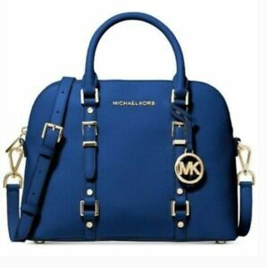 Michael Kors Bedford Legacy Vintage Blue Medium Dome Satchel Leather Zip New E*