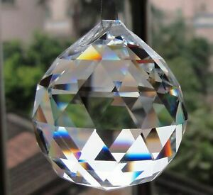 K9 Clear Crystal Faceted Ball Prism Suncatcher 50mm Feng Shui Chandelier Part