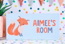 Personalised Handmade Fox Name Plaque Bedroom Door Sign