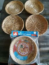 Wicker Bamboo Paper Plate Holder Picnic Thanksgiving Basket Weave Set of 8