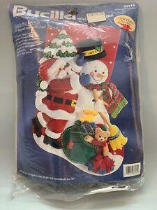 Vintage Bucilla Christmas Stocking Santa & Frosty Felt Applique Kit 83974
