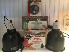 Lot 4 reptile aquarium supplies lot, heat lamps, thermometer, bedding