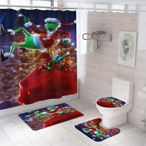 Merry Christmas Shower Curtain Bathroom Rug Set Thick Bath Mat Toilet Lid Cover