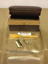Super Rare Vintage Eton Military Brush-Comb-Razor Set top grain cowhide case