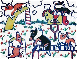 SHELTIE Playground Pop Art Print 4 x 6 Dog Shetland Sheepdog Collectible Signed