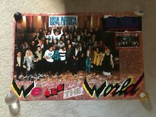 Vtg We Are the World USA For Africa Michael Jackson Diana Ross Music Poster NIP