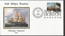 KAPPYSSTAMPS 5817 USA BOSTON TALL SHIPS SAIL IN 2000 AMERIGO VESPUCCI ITALY