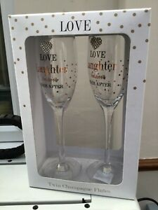 Love and laughter happy ever after Wedding Champagne Glass Set Of 2 Gift
