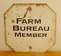 Vintage Farm Bureau Member Double Sided Heavy Metal Stop Sign (Iowa Barn Find)
