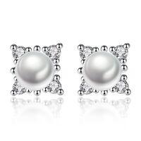 925 Sterling Silver Stunning Pearl Stone Stud Earrings Womens Jewellery Gift UK
