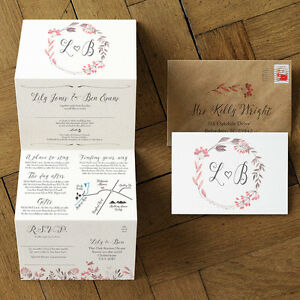 Summer Meadow Wedding Invitation - Luxury Folding card, custom map & colours