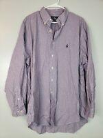Polo Ralph Lauren Mens Button Down Dress Shirt Size 17.5 Plaid Yarmouth Long Slv