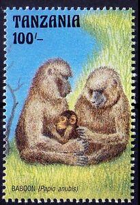 Baboon, Monkeys, Wild Life Animals at Watering Hole in Tanzania 1993 MNH