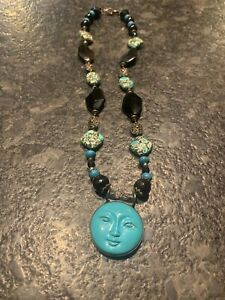 """LOVELY MOSAIC TURQUOISE & TURQUOISE 26"""" NECKLACE W/925 STERLING WIRES"""
