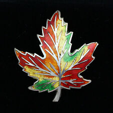 Vintage AMCO Sterling Silver Multi-Color Guilloche Enamel Maple Leaf Pin