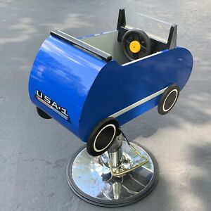 VTG Childs Barber Chair Race Car Wooden Hydraulic Lift WILL SHIP EMAIL FOR PRICE