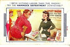 CU44.Vintage Comic Postcard. Woman buying bra told to go to hammock department!