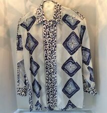 VALENTINO white/Blue Printed Shirt in 100% Cotton Long Sleeved 15 Made in Italy
