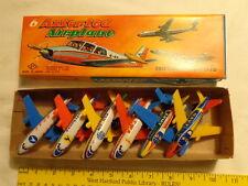 1960's Mib Tin Litho Friction, 6 Airplane Set, Japan, Army, Navy, Twa, Pan Am +