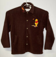 Disney Store Women's Brown Fleece Button Up Embroidered Winnie the Pooh Size XL