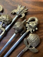 Vintage Ornate Brass Herb Garden Stakes Skewers Figural French Outdoor Patio