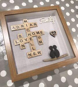 Personalised Scrabble & Pebble Frame, Handmade Pebble Family Frame, Family Gift,
