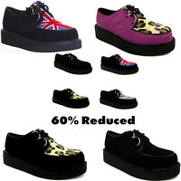 Women Creeper Punk Goth Shoes 2 Eyelet Lace Up Round Toe Ladies Punk Shoes