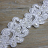 1M WHITE PEARL BEADED LACE BRIDAL WEDDING TRIM TRIMMINGS 35mm WIDTH LC88W