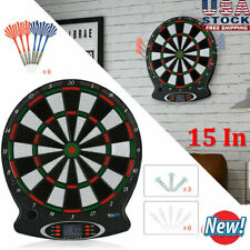 """15"""" Electronic Soft Tip Dartboard Set Target Game Room LCD Display With 6 Darts"""