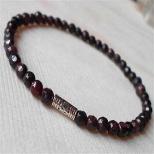 4mm Garnet Beads Crystal Men Bracelet Reiki Men Bead Lucky Handmade Stretchy