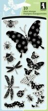 Patterned Bugs Dragonfly Butterfly Clear Acrylic Stamp Set by Inkadinkado New!