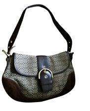 6808 COACH Large Soho Brown Signature Fabric Leather Handbag Purse Shoulder Bag