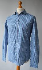 Men's Blue Checked Ted Baker London Long Sleeved Shirt Size 4, UK Large.