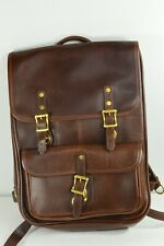 "J.W. Hulme Brown Leather Continental Backpack Style 647 15"" Laptop MSRP $795"