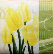 4 X Papel Servilletas Flores Tulipán Amarillo Para Decoupage y elaboración de la tabla -203