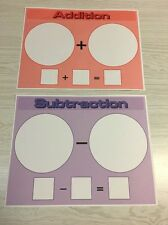 Set of 2 - Laminated Math Work Mats - Addition and Subtraction Dry Erase22