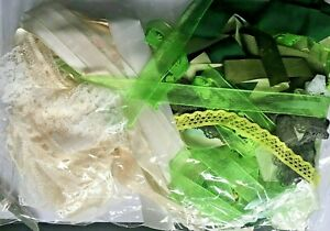 LACE AND RIBBON MIXED BUNDLE -  20 METRES Green & Cream ROLL ENDS & OFFCUTS