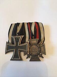 Original WW1 German Medal Pair Iron Cross 2nd Class and Honour Cross with Swords