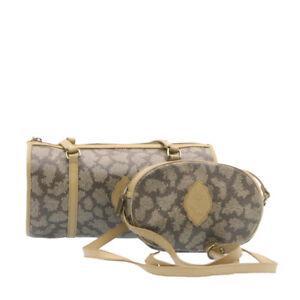 SAINT LAURENT Shoulder Bag PVC Leather 2Set Gray Auth ar5281